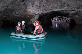 Boating underground in disused mine Go Below adventure holiday betws-y-coed, snowdonia